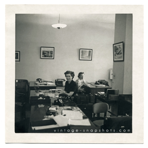 Vintage photo of an office in the 1950s.