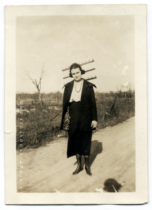 Vintage photograph of a woman in curious circumstances