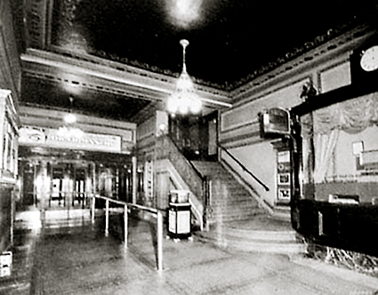 Photo of the lobby of the Madison Theater in its prime, circa 1920s