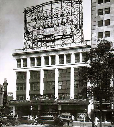 Vintage image of the Madison Theatre facade, circa 1920s
