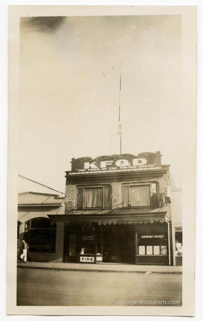 Old photo of KFQD Radio in Anchorage, Alaska, circa 1940s