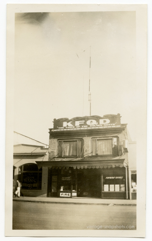 Old photo of KFQD Radio in Anchorage, Alaska, circa 1940s