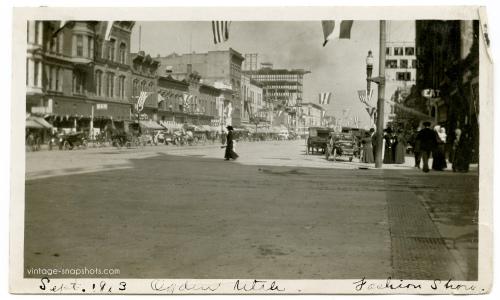 Vintage snapshot showing a street scene in Ogden, Utah in 1913