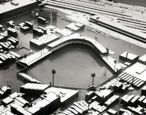 Crosley Field, home of the Cincinnati Reds, during the 1937 flood
