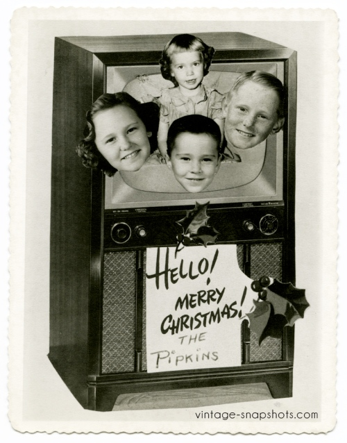 Television-themed Christmas photo card from the 1950s