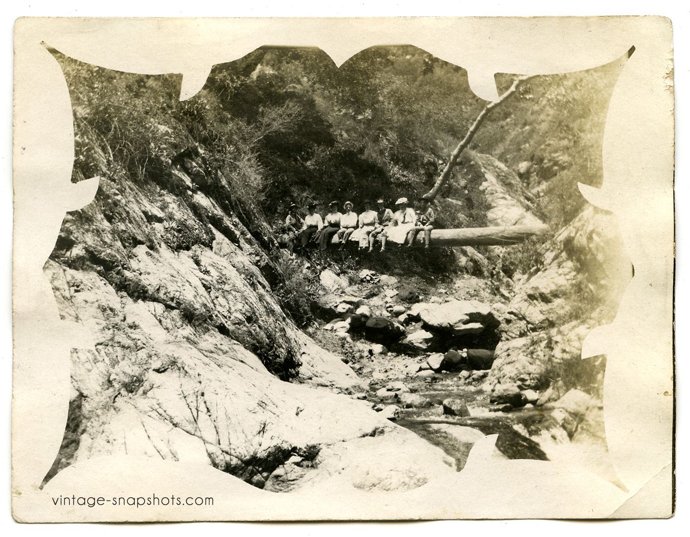 Vintage snapshot of a group of men and women in the San Gabriel Mountains, east of L.A.