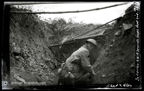 Vintage photo of an American soldier in a trench in France during WWI