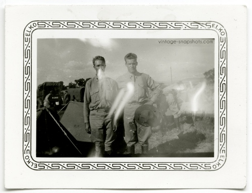 Odd, strange vintage photo of two military men with light leaks