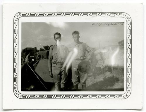 Odd, strange vintage photo of two military men with light leaks