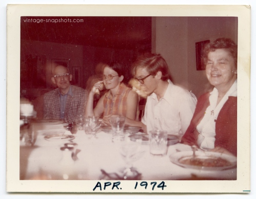 Strange light effect on boy's face in this 1974 vintage snapshot