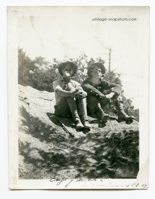 Vintage photo of two hikers on Mt. Wlson in September 1907
