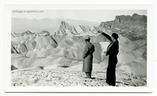 Vintage snapshot of couple in Death Valley barren moonscape, circa 1920s
