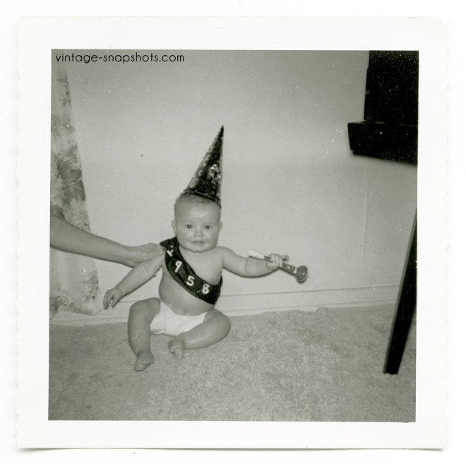 New Year 1958 baby vintage photo