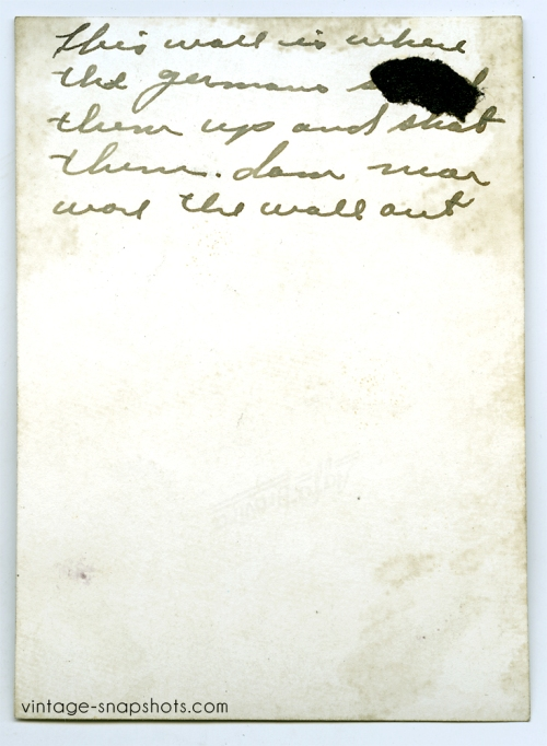 Vintage snapshot rear inscription detailing German executions during WWII